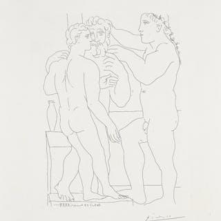 Jeune sculpteur Grec avec sa sculpture: un homme et un Éphèbe (Young