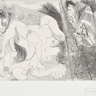 Raphaël et la Fornarina IV: avec le Pape tirant le rideau (Raphael