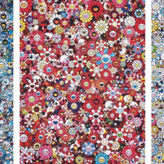 Signal; Skulls & Flowers Red; and This Merciless World - Takashi Murakami
