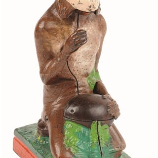 Place coin in the monkey's hand and press the lever