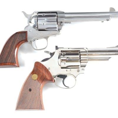 "Lot consists of (A) Cimarrron ""EVIL ROY"" custom Colt Single Action in .45 Colt"