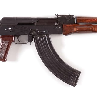 Standard AK pattern rifle with wooden furniture and brown plastic grip
