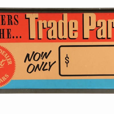 Double sided cardboard sign with original metal frame