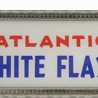 Atlantic White Flash Gasoline Ad Glass Framed in a light...