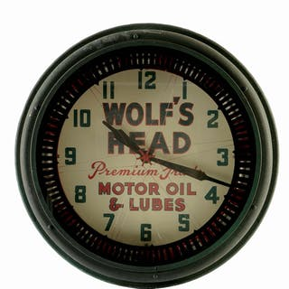 A tough to find clock from Wolf's Head Motor Oil