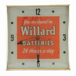 An excellent example of this Pam Clock for Willard Batteries