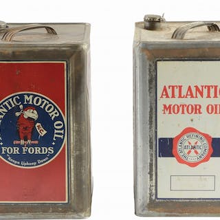 Lot consists of two Atlantic Motor Oil Five Gallon Square Cans