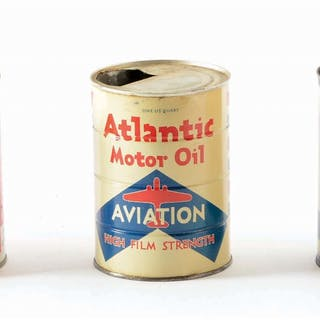 Lot Consists Of: Atlantic Aviation Motor Oil w/ older Airplane graphic