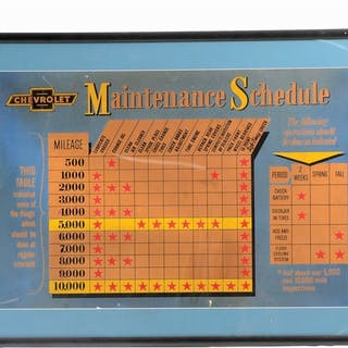 Lot Consists Of: Chevrolet Maintenance Schedule Framed Card Stock Display
