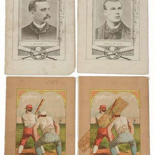 Lot includes three scorecards with black and white fronts...