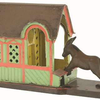 Lock mule in position and place a coin between his hind legs