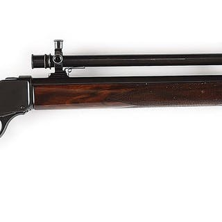 """30"""" heavy weight round barrel mounted with Winchester A5 scope is stamped """"H"""