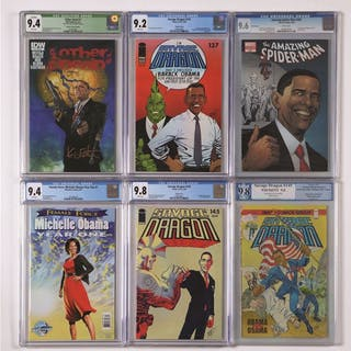 Lot includes many comics featuring Former President Barack Obama