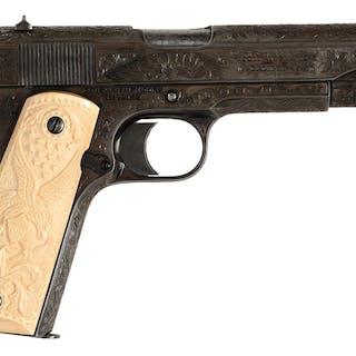 This pistol began life as a standard commercial pre-war Model 1911