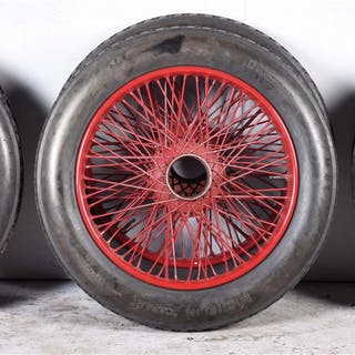 Set of six antique Delage Motor Cars spoke wheels with...