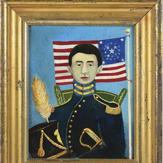 This fantastic Federal period folk art oil painting on...