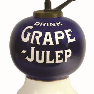 This is a very strong example of the block lettered Grape Julep dispenser