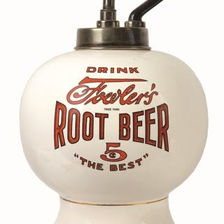 Beautiful condition root beer dispenser with its original marked plunger pump