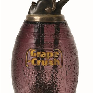 This figural barrel dispenser features embossed grapes...