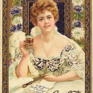 Classic artwork here with Hilda Clark shown with a glass