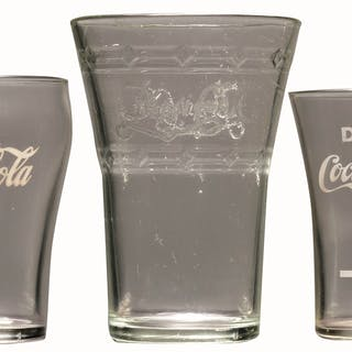 This lot includes a 1940s to 1960s bell glass with applied color label
