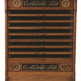 Nine-drawer model with original decals on the front wooden panels