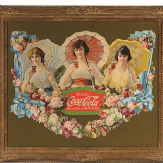 This one is beautifully framed under glass in somewhat of...