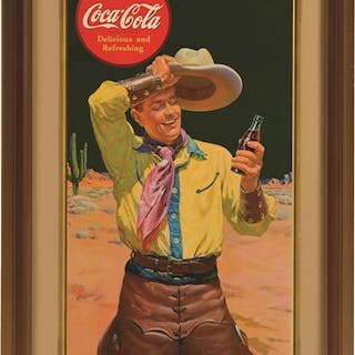 Beautiful poster featuring cowboy and is framed under glass
