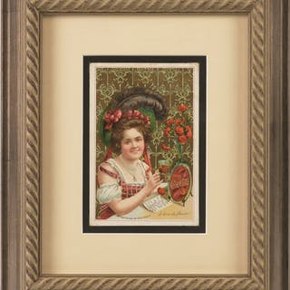 A good looking card which is framed and matted to expose all the edges