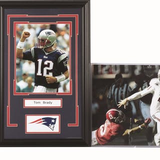 Lot consists of: a framed photo of Tom Brady in his...