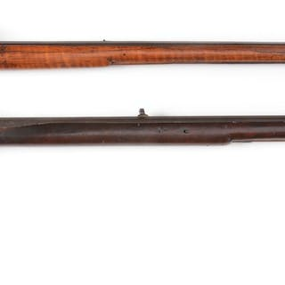 Lot consists of: (A) Poor boy style flintlock rifle with...