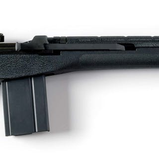 This fine semi-automatic military style rifle features a black composite stock