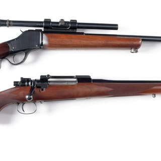 Lot consists of: (A) Custom rifle using an 1885 action and custom barrel