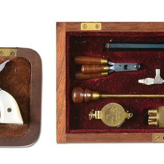 "Lot consists of: (A) Miniature nickel 5-1/2"" Colt Single..."