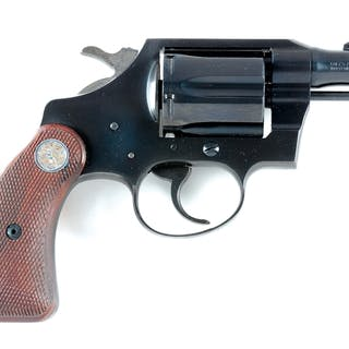 Standard blue six shot double action Colt with silver...