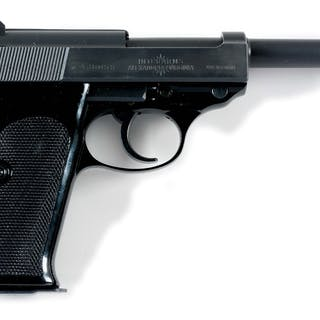 Pistol is standard blue finish with black plastic grips...