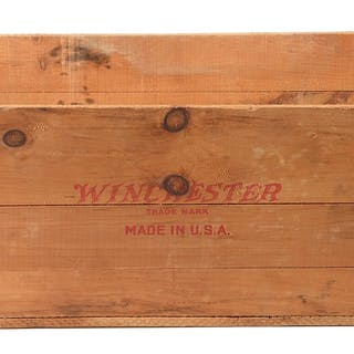 This is an original wooden shipping crate with no lid