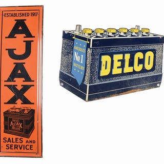Lot Consists Of: Ajax Batteries Tin Vertical Sign with Embossed Self Framed Edge