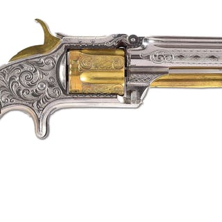 This spectacular revolver features nearly full coverage engraving
