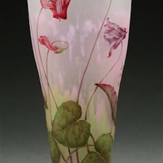 "Vtg Murano Art Style Amethyst Lily W/twisted Long Stem Glass Flower 16"" Studio/handcrafted Glass"