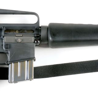 Gun features a triangle forend with birdcage flash hider