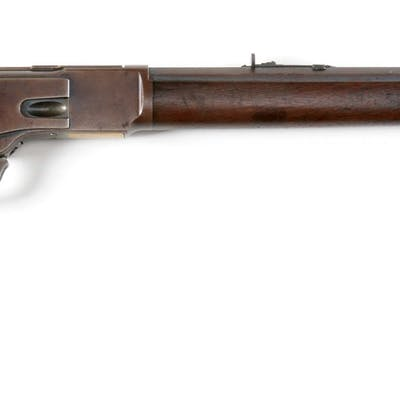 Second model Winchester 1873 rifle with screwed on dust cover rail