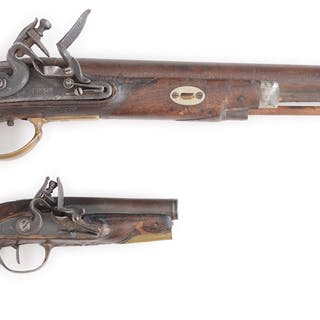 Lot consists of (A) Composite long flintlock holster...