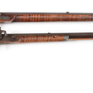 Lot consists of (A) Plain half stock Kentucky rifle with...
