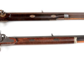 Lot consists of (A) Percussion Hawken style rifle with Hastings barrel
