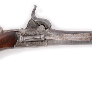 Side bayonet mounted percussion pistols are unusual