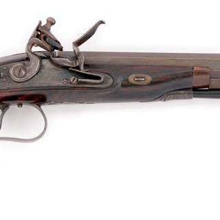 This rare American flintlock dueler is much like English...