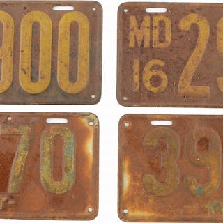 Set of two matched pair License Plates from Maryland for 1916 & 1917