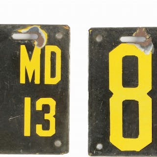 A nice matched pair of 1913 Maryland Porcelain License Plates