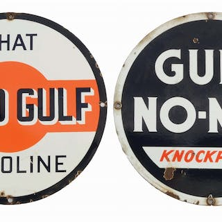 Lot Consists Of: The Good Gulf Gasoline Porcelain Pump Plate